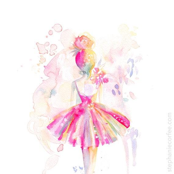 Pink Ballerina Print Ballet Watercolor Painting Spatter Etsy