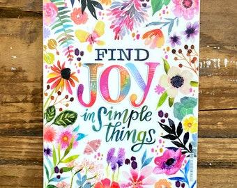 Find Joy in Simple Things Vinyl Sticker, positive sticker, water bottle sticker, large sticker