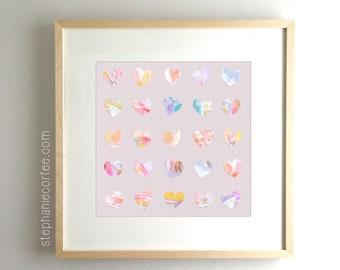 All The Hearts - PRINT abstract painting, acrylic painting, paper print, colorful print, cheerful print, rainbow print