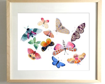 Butterfly Scatter No. 1 - PRINT watercolor painting, paper print, colorful print, cheerful print, moth, butterfly, wings