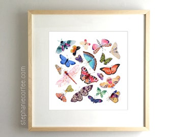 Butterfly Scatter COMPLETE - PRINT  watercolor painting, paper print, colorful print, cheerful print, moth, butterfly, wings