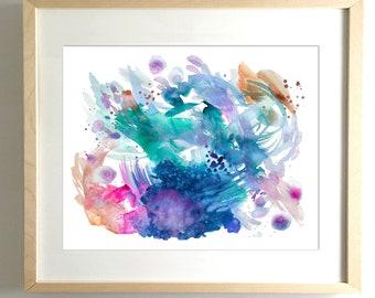 Ayla's Ocean - PRINT abstract painting, watercolor painting, paper print, colorful print, cheerful print, rainbow print, ocean, mermaid