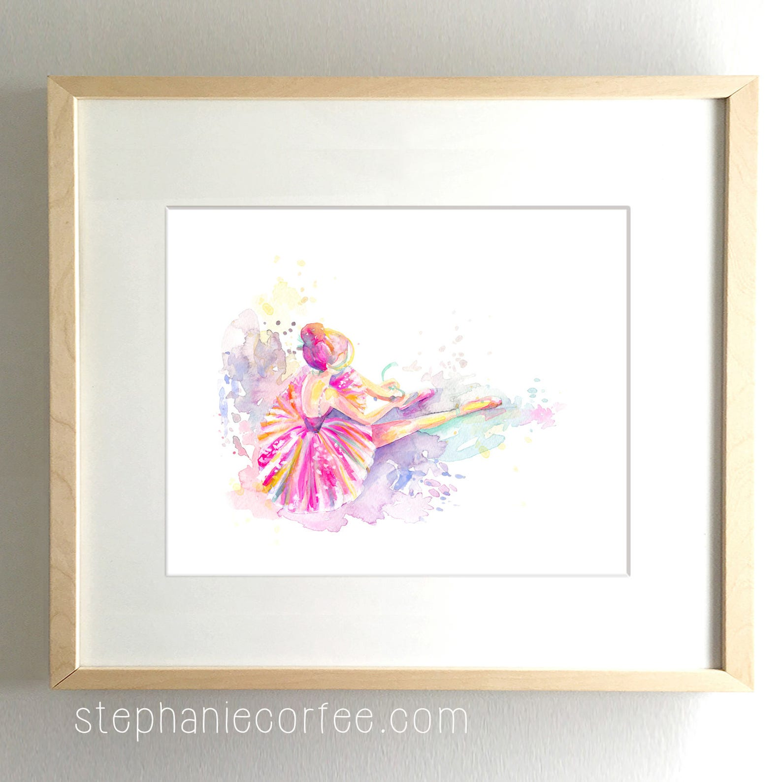 ballerina tying pointe shoes - print, ballet, watercolor painting, spatter painting, girl art, nursery art, tutu art