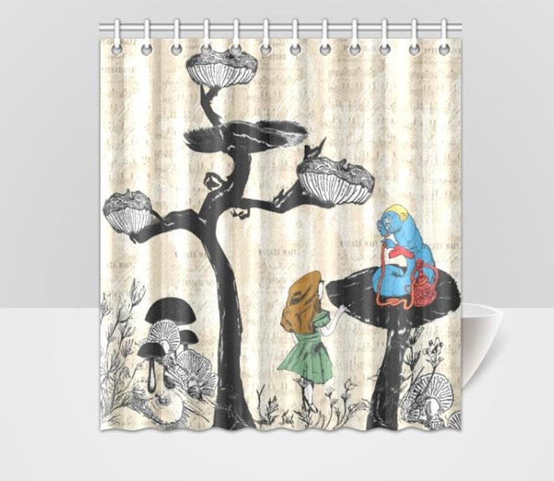 Alice In Wonderland And Blue Caterpillar Shower Curtain