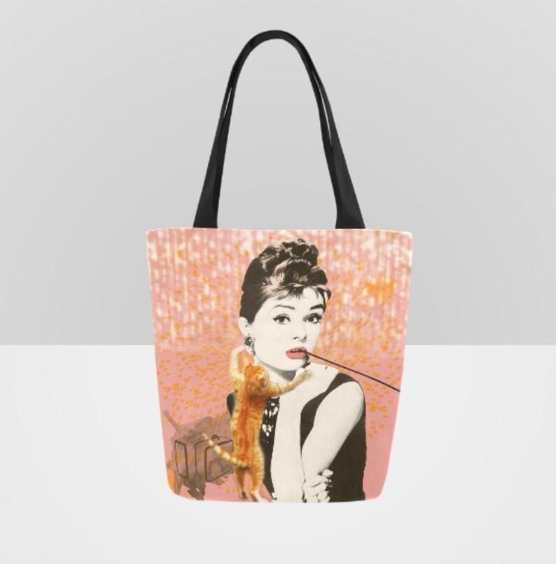 d5e2111058 Audrey Hepburn Movie Star Orange Cat Canvas Tote Bag Shopping | Etsy
