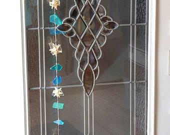 "Beach Decor Sea Glass hanger - Nautical Decor Beach Glass Garland with Starfish  Watercolor Seaglass - 55"""
