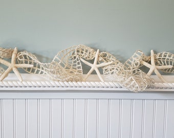 Beach Decor Brown Starfish Garland Nautical Decor Fish Net