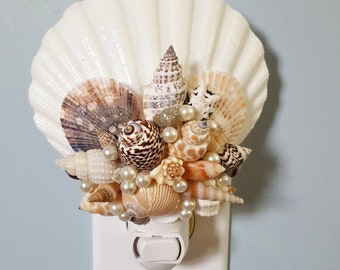 Natural Seashell Night Light Beach Wedding Bridesmaids Gifts
