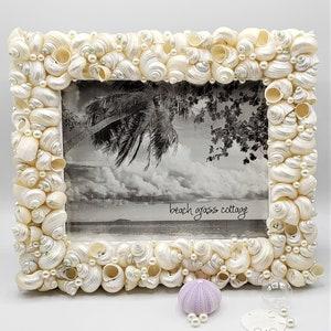 Coastal Decor WHITE 10x13 OR 11x14 Beach Wedding Frame Beach Glass Wall Frame Sea Glass Picture Frame Seashell Frame Nautical Frame