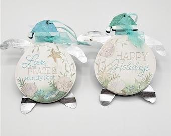 Beach Christmas Ornament, Coastal Christmas Decor Sea Turtle Ornament, Nautical Christmas Decor Tortoise Ornament, Turtle Gifts & Decor