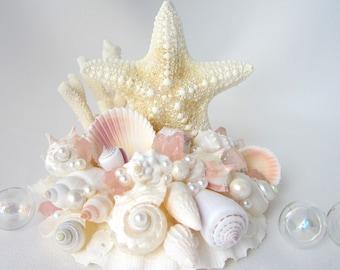 Beach Wedding Cake Topper, Nautical Starfish Seashell & Sea Glass Cake Topper, Coastal Wedding, Nautical Wedding, Beach Wedding Decor