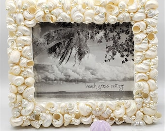 "Beach Decor Seashell Frame, Nautical Coastal Decor Beach Wedding Gift or Shower Gift Shell Picture Frame, 5x7"""