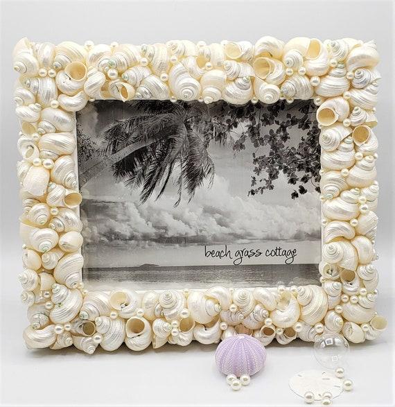 Seashell Gift 11 x 14 Colored Seashell and Starfish Frame Beach Decor Shell Frame Coastal Nautical Decor Beach Decor