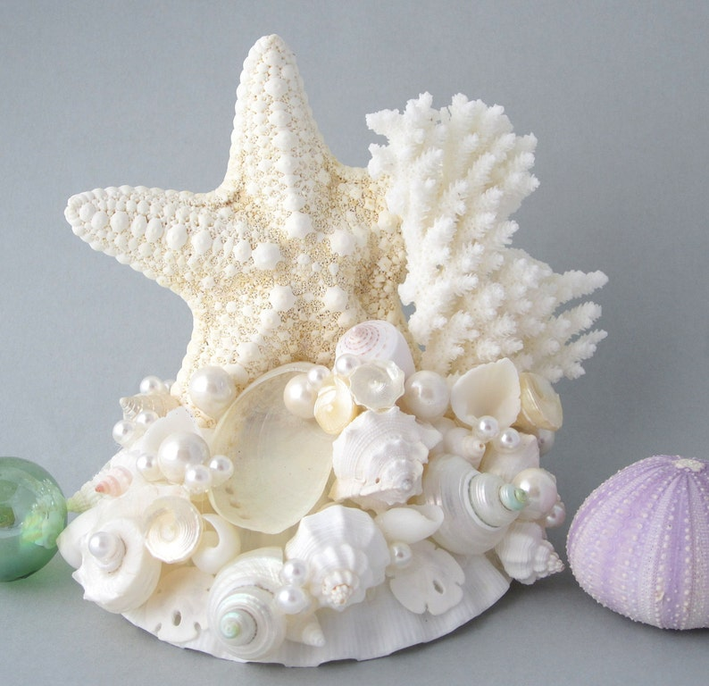 Beach Wedding Cake Topper Nautical Seashell Coral & Starfish image 0