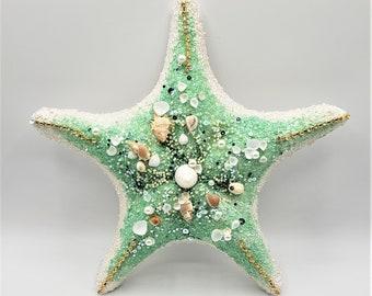 "Beach Christmas Decor Tree Topper, Coastal Christmas Decor Starfish Tree Topper, Nautical Decor Star Fish Tree Top  w Bling & Shells, 12"""