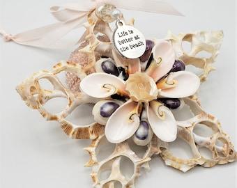 """Beach Christmas Ornament, Coastal Christmas Seashell Ornament, Nautical Christmas Decor Shell Gifts & Decor, """"Life Is Better At The Beach"""""""