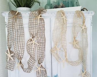 Beach Christmas Decor Garland, Coastal Christmas Netting Starfish Garland, Nautical Decor Fish Net Garland, Seashell Garland, 10FT