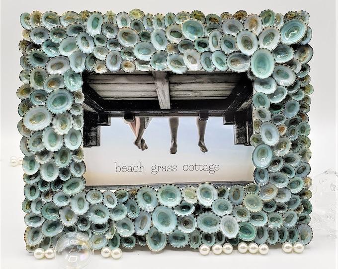 "Seashell Picture Frame, Nautical Coastal Beach Decor Aqua Limpet Shell Art Frame for Beach Wedding Photo or Wedding Gift, 5x7"""