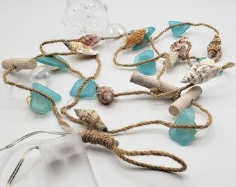 Beach Christmas Sea Glass Lighted Garland, Beach Glass Garland, Coastal Christmas, Nautical Christmas Garland w Shells & Driftwood, 6FT