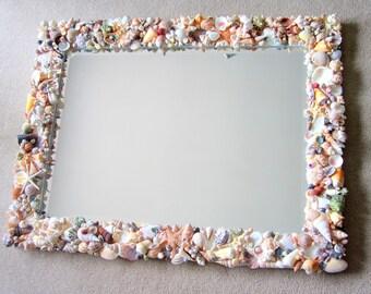Nautical Decor Seashell Mirror, Beach Decor Shell Mirror, Shell Wall Mirror, Beach House Decor, Coastal Home Decor, Nautical Mirror