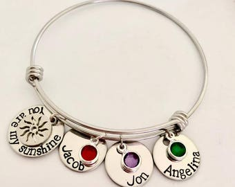 Personalized stainless steel Name  Birthstone Bracelet -  You are my sunshine silver Bangle name Bracelet