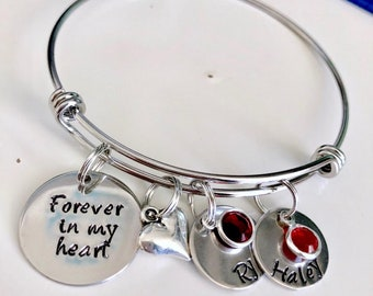 Personalized Name- Forever in my heart - silver stainless steel Bangle name Bracelet