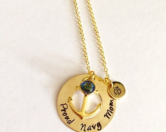 "Gold Custom ""Proud navy mom"" Marine, Anchor Necklace, Navy Mom Gift"