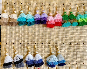 Three layered cotton tassel earring Chandelier earrings,Bohemian earrings.