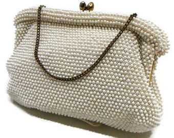 Vintage Cream Handbag Vintage Beaded Handbag Vintage Beaded Evening Bags Vintage Purses Handbags Vintage Ladies Handbags Retro Bags