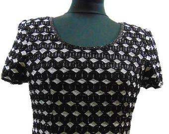 Vintage Beaded Top Vintage Black and Silver Silk Beaded Top Vintage Beaded Blouse