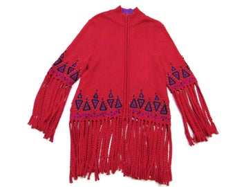 775d35bb53 Vintage Bob Mackie Red Fringe Sweater Vintage Cardigan Sweaters Fringe Cardigan  Sweater Zip Up Sweater Womens