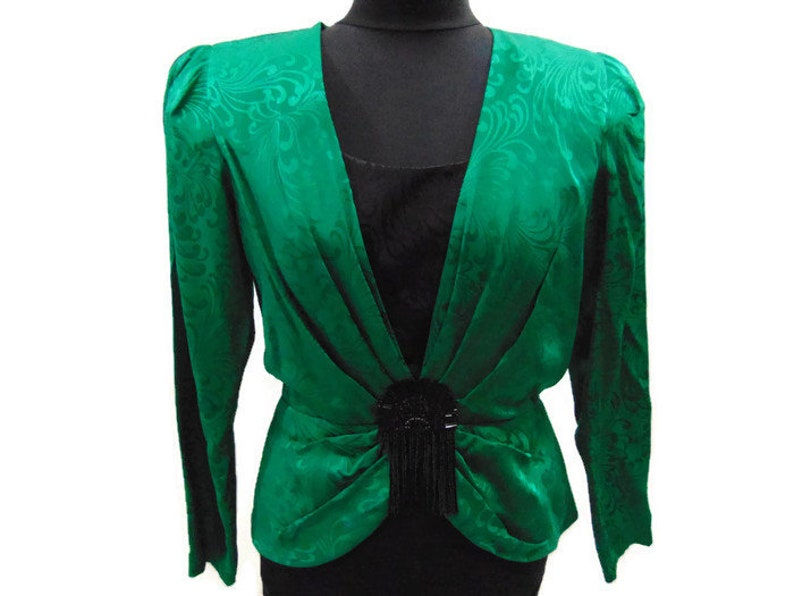 214efa8bce3ff Vintage Green and Black Beaded Silk Blouse Green Silk Blouse
