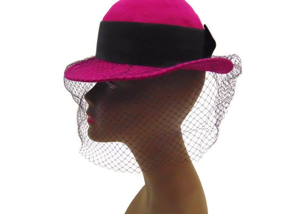 Vintage Hat With Veil Vintage Dark Pink Wool Hat Vintage Hats  f5cf7da1dba