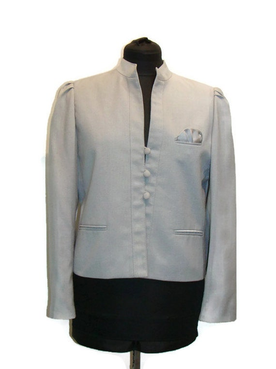 Vintage Light Gray Cropped Jacket Vintage Jackets Women ...