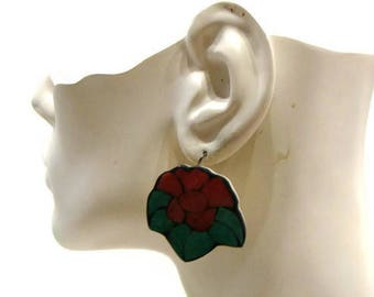 Vintage Flower Earrings Vintage Floral Earrings Vintage Pierced Earrings Large Flower Earrings Flower Shaped Earrings Large Earrings