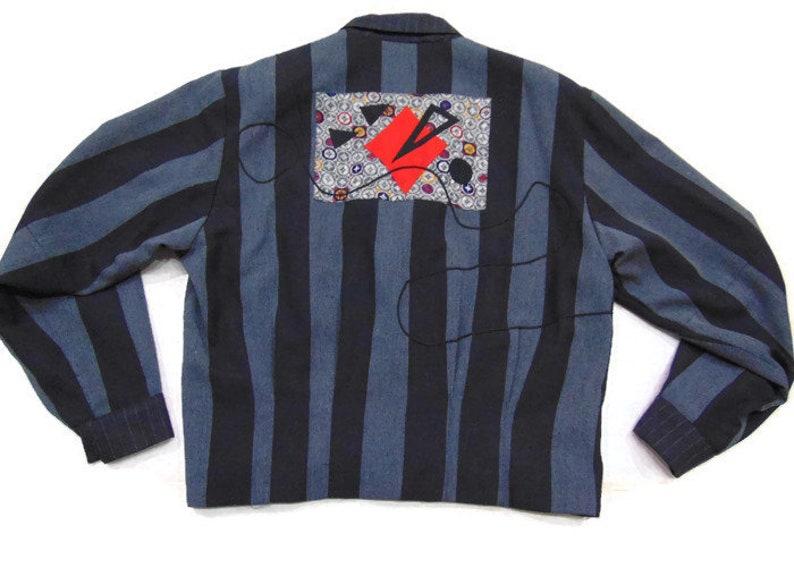 Vintage 80/'s Cropped Blazer Oversized Blazer Striped Blazer Womens Cropped Suit Jacket Ladies Striped Blazer