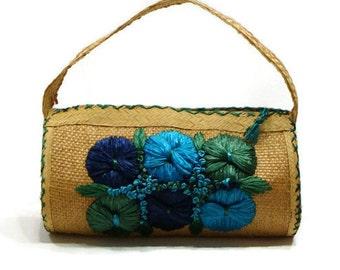 Vintage Straw Handbags Floral Handbags Vintage Straw Purse Ladies Straw Handbags