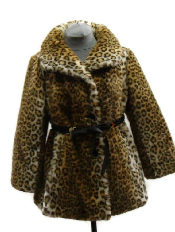 Vintage Leopard Print Faux Fur Coat Vintage Faux F
