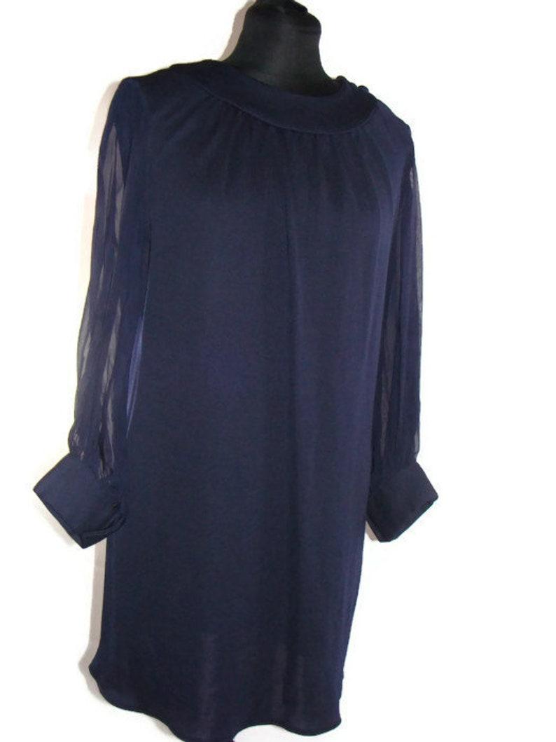 Vintage Navy Blue Sheer Sleeve Shift Dress Vintage Navy Blue  530c03755