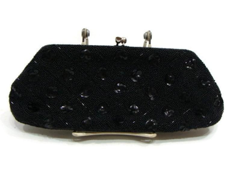 2331c2afe8cf Vintage Black Sequin Clutch Bag Vintage Beaded Clutch Black