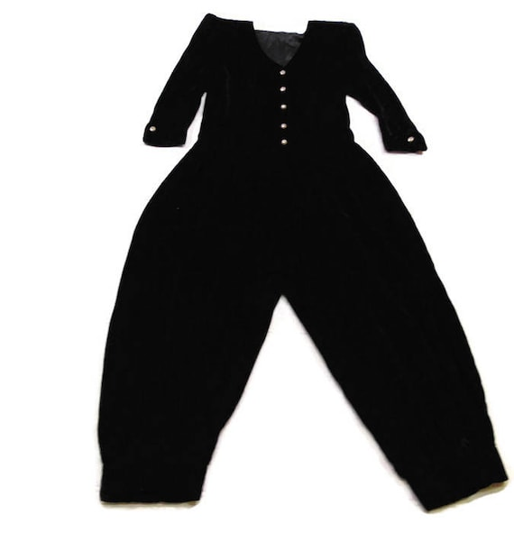Vintage Black Velvet Jumpsuit Black Long Sleeve Ju