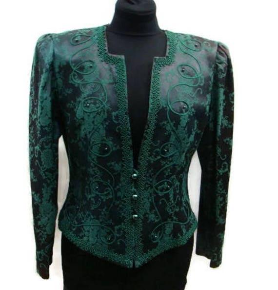 Vintage Green Damask Pattern Suit Jacket Dark Green Suit Etsy