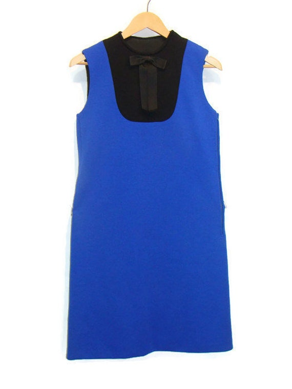 Vintage Blue and Black Color Block Sleeveless Dres