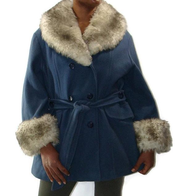 Vintage Blue Wool Blend Faux Fur Trimmed Coat Faux