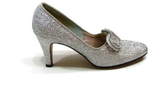 Vintage Silver Heels Silver Metallic Heels Silver