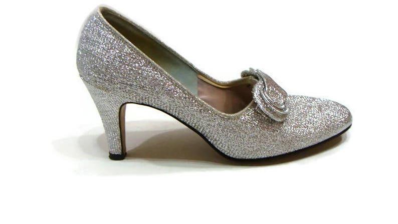 bec83f3888f Vintage Silver Heels Silver Metallic Heels Silver Sparkly