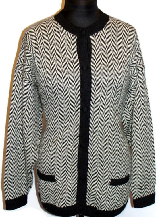 Vintage Chevron Pattern Alpaca Wool Sweater Vintag