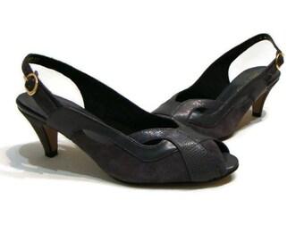 Vintage Grey Sling Back heels Vintage Gray  Suede and Leather Heels Vintage Peep Toe Shoes Vintage Leather Heels Vintage Shoes For Women