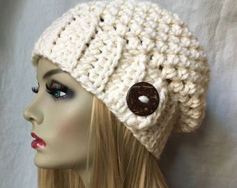 Crochet Slouchy Beret, Womens Hat, Off White Cream, Pick Your Color, Soft, Chunky, Warm, Teens, Birthday Gifts for Her JE505BTBU7