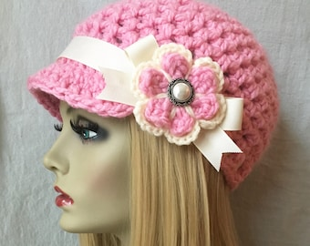Crochet Womens Hat, Newsboy, PINK, Very Soft Chunky, Flower, Warm. Cancer Hat, Teens, Ski Hat, Birthday Gifts, Gifts for Her, JE475NF4